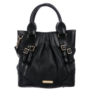 Burberry black grained leather satchel / bag